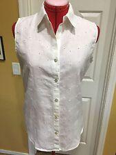 CHICO'S White Linen Embroidered Eyelet Sleeveless Tunic Blouse, Size 1, 8-10