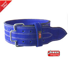 2Fit Blue Leather WeightLifting GYM BodyBuilding BackSupport Training Belt-SMALL