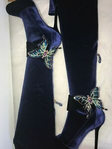 SERGIO ROSSI OVER THE KNEE STRETCH VELVET BOOTS BUTTERFLY, sz 7.5, NOTTE, $1755