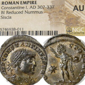 Constantine the Great NGC a.Uncirculated! VERY RARE R4 RIC 32 Ancient Roman Coin