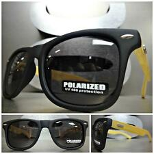 CLASSIC VINTAGE Style POLARIZED SUN GLASSES Matte Black Real Wood Wooden Frame