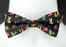 American Holidays Mens Bow Tie Adjustable Neck Novelty Black Pre-Tied Gift New