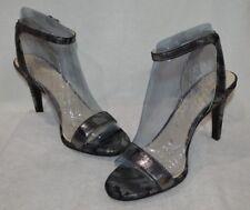 Nine West Women's ANISTONO Pewter Open Toe High Heels Sandals-Size 8.5/10 NWB