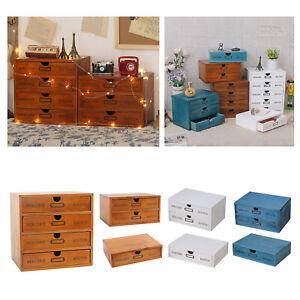 Wooden Desktop Storage Box Drawer Office Home Table Desk Organizer Display
