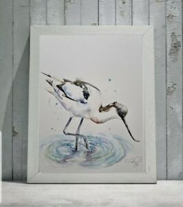 New Elle Smith large original signed watercolour art painting of an Avocet bird