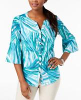 JM Collection Women's Linen Bell-Sleeve Blouse Painted Palms Blue White Sz 18