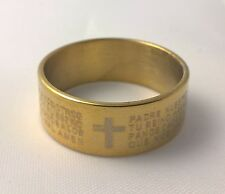 G-Filled Men's 18ct yellow gold wedding band 8mm ring Jesus God Bible scriptures