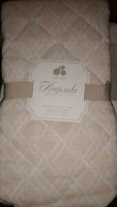 Just Born Keepsake Washed Linen Trellis Printed Changing Pad Cover in Pink