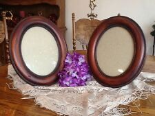 Pair of Distressed Wood Oval Frames by Connoisseur