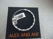 Alex and Ani CANYON BEADED Shiny Silver Finish Bangle New W/ Tag Card & Box