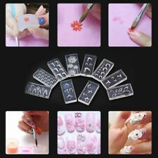 10pcs/set Acrylic Decoration 3D Silicone Nail Art Mold Template DIY Manicure