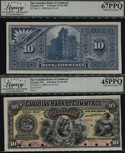 TT 1888 CANADA THE CANADIAN BANK OF COMMERCE 10 DOLLARS LCG 67 PPQ SET OF TWO!