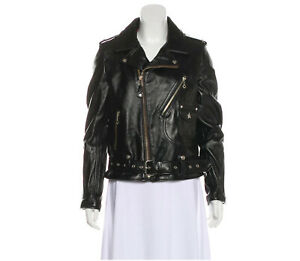 Womens Black Rag & Bone Schott Leather Biker Jacket Size M Regular