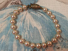 "Faux Pearl Bracelet Off White or Eggshell Glass Beads 7.25"" Long Vintage"