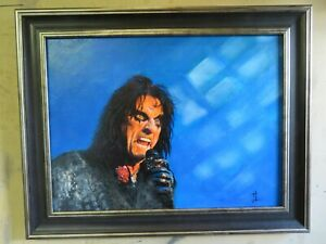 Alice Cooper in action. Superb oil painting- Trendy concert performance