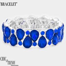 HIGH END BLUE GLASS CRYSTAL CHUNKY BRACELET WEDDING FORMAL PROM JEWELRY TRENDY