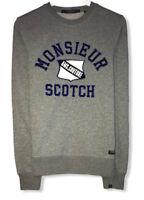 "Scotch & Soda Amsterdam Couture Men's Gray ""Monsieur"" Spellout Sweatshirt Size S"