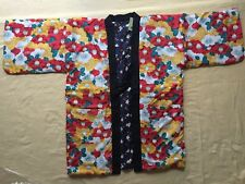 Japanese Hanten Kimono Jacket (M)Reversible Warm Room Wear Plum Black JAPAN