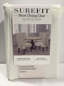 Sure Fit Farmhouse Basketweave Dining Room Chair Slipcover - Ivory