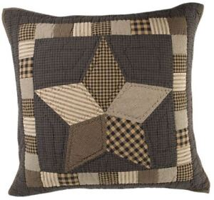 """26"""" Quilted Euro Sham Farmhouse Star Charcoal Patchwork Floor Pillow Cover"""