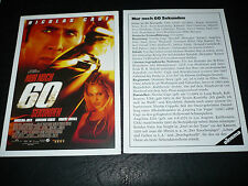 GONE IN 60 SECONDS, film card [Nicolas Cage, Angelina Jolie]