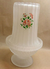 "Frosted / Satin Glass With Pink Roses Fairy Lamp Footed Base 2 Pc 6 1/4"" T"