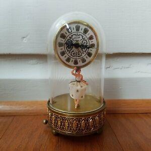 Vintage Swiss Musical Movement Dancing Ballerina Music Box With Clock NICE