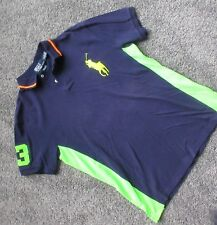 RALPH LAUREN POLO MEN LARGE SHIRT LARGE HORSE GREEN BLUE 3 CASUAL GOLF TENNIS