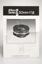 Nikon Series E 50mm f/1,8 instruction multilingual
