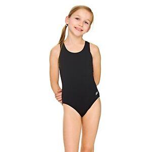 Zoggs Junior Girl Swimsuit Cottesloe Sportsback Black Kids Ages 6 - 14 Years