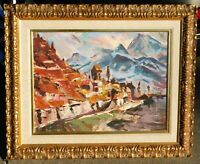 Vintage MCM expressionist oil/canvas signed mystery artist, 18 x 24