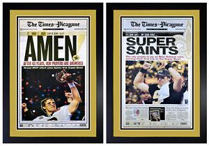 Set of 2 New Orleans Saints NFC / Super Bowl Championship Photos Matted & Framed