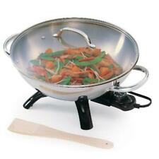Stainless Steel Electric Wok W/ Glass Lid Durable Dishwasher Safe Kitchenware
