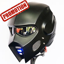 Vintage Mask Matt Black Motorcycle Helmet Fancy Open Face LED Custom M,L