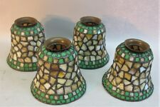 Fine Antique Set of 4 Mosaic Stained Glass Lamp Shades PHILIP SEMMER  c. 1920