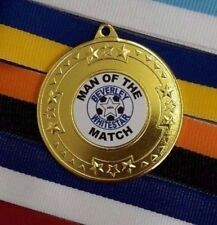 MAN OF THE MATCH MEDALS x 10 CLUB NAME OR CLUB BADGE ADDED FOR FREE PERSONALISED