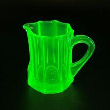 ART DECO Bohemian Czech Green Uranium Vaseline Glass Milk Jug Creamer ca.1930's