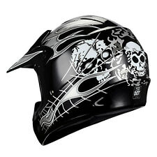 New Adult Motocross Helmet Motorcross MX ATV DirtBike Skull White Black S M L XL