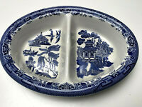 Blue Willow Churchill Staffordshire England Oval Divided Serving Vegetable Bowl