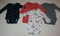 New Carter's 4 Pack Boys Bodysuit Tops NWT 3m 12m 18m 24m Red Fire Truck Dog