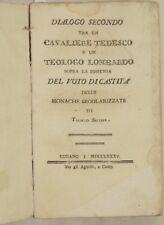 TOLINDO SELLINA DIALOGO SECONDO TRA UN CAVALIERE TEDESCO CASTITA MONACHE 1785