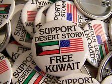 "10 (Ten) ""Free Kuwait, Support Desert Storm"" cello pin-back buttons, 1991."