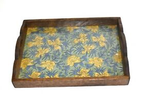 Wooden Rustic Breakfast Serving Tray with Glass and Beautiful Indian print