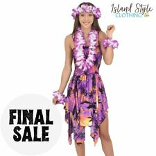 Purple Sunset Pixie Dress + Hawaiian Lei Set