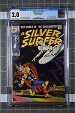 SILVER SURFER #4 MARVEL COMICS 1969 CLASSIC COVER BATTLES THOR CGC 2.0