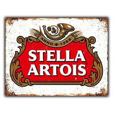 STELLA ARTOIS BEER METAL PLAQUE WALL SIGN print poster retro Advert Bar Man cave
