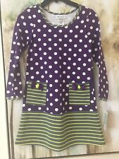 Bonnie Jean NWTs Purple Polkadots W/ Lime Stripes Bow Pockets Girls Dress Size 8