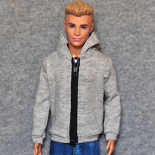 """Handmade doll clothes gray hoodie for 1/6 dolls 12"""" ken dolls"""