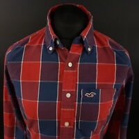 Hollister Mens THICK Shirt MEDIUM Long Sleeve Red SLIM FIT Check Cotton