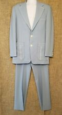 1970's Johnny Carson Light Blue 2-piece Polyester Leisure Suit Halloween Sz 38R